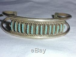 Vintage Old Pawn Zuni Sterling Petit Point Cuff Bracelet- Slim Wrist