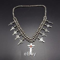Vintage PUEBLO Sterling Silver DRAGONFLY CROSS Coral SQUASH BLOSSOM Necklace
