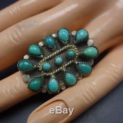 Vintage Pawn NAVAJO Sterling Silver TURQUOISE Petit Point Cluster RING size 6.75