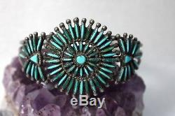 Vintage Pawn ZUNI Needlepoint Turquoise & Sterling Silver Cuff Bracelet 1940's