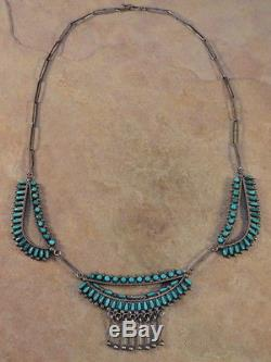 Vintage Pawn Zuni Sterling & Turquoise Petit Point Necklace