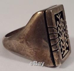 Vintage Ramon Dalangyawma Hopi Indian Sterling Silver Corn Crops Ring Size 11.75