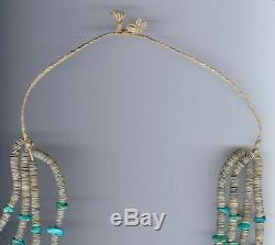 Vintage Santo Domingo Multi Strand Heishi Bead Turquoise Shell Jacla Necklace
