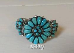 Vintage Signed LW Zuni Lorraine Waatsa Silver & Turquoise Cuff Bracelet