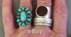 Vintage Signed Native American Turquoise Cluster Ring Blues & Greens Size 6 3/4