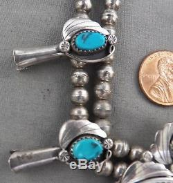 Vintage, Signed, Navajo Sterling Silver & Turquoise Squash Blossom Necklace