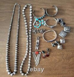 Vintage Silver Jewelry Lot/native American Graduated Pearl Necklace