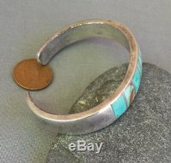 Vintage Silver Native American Squared Greenish Turquoise Inlay Cuff Bracelet