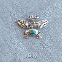Vintage Silver Turquoise Native American Handmade Knifewing Pin