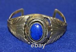 Vintage Silver and Lapis Stone Navaho Native American Jewelry Kee Cuff Bracelet