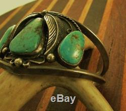 Vintage Southwest 3 Stone Turquoise Cuff Sterling Navaho Vernon Begay