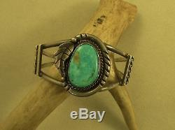 Vintage Southwest Cuff Bracelet With Turquoise Stone Sterling