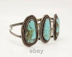 Vintage Southwest Turquoise American Indian Pawn Sterling Silver Bracelet
