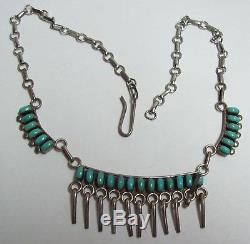 Vintage Southwest Zuni Petit Point Turquoise & Sterling Necklace