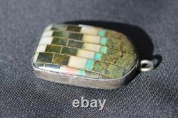 Vintage Southwestern Jewelry Pendant Native American Silver Turquoise Onyx