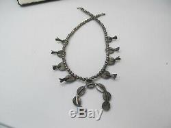 Vintage Squash blossom turquoise necklace 60 grams Native 18