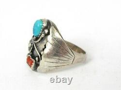 Vintage Sterling D. Ashley Navajo Natural Turquoise & Coral Mens Ring 14.6g B2