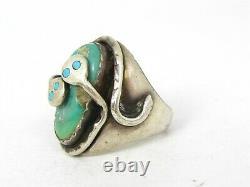 Vintage Sterling EFFIE CALAVAZA ZUNI Snake Natural Turquoise Mens Ring 28g B7