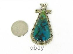 Vintage Sterling Gene Nataan Natural Turquoise Navajo Large Pendant 32g B9