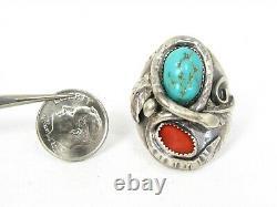Vintage Sterling Signed Navajo Snake Natural Turquoise & Coral Mens Ring 25g B2