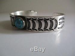 Vintage Sterling Silver Cuff Bracelet Native American Indian Navajo Turquoise