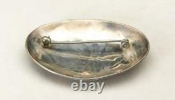 Vintage Sterling Silver Hopi Eagle Pin Brooch Oval Native American Jewelry