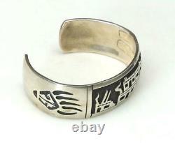 Vintage Sterling Silver Hopi Pueblo Scene Cuff Bracelet Native American Jewelry