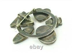 Vintage Sterling Silver Multi Gem Zuni IAUZ Circle Pin Brooch 33.9g B4