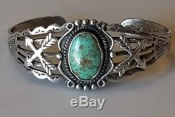Vintage Sterling Silver NAVAJO Native American Turquoise Cuff Bracelet, Small