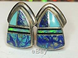 Vintage Sterling Silver Native American Earrings Signed Albert Francisco Navajo
