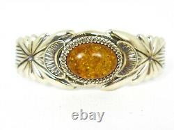 Vintage Sterling Silver Natural Amber Wilson Begay Navajo Cuff Bracelet 44g B13