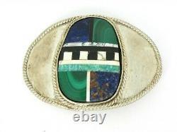 Vintage Sterling Silver Navajo Multi Gem Mens Large Belt Buckle 118g B3