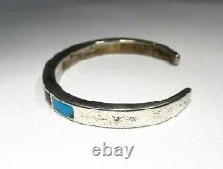 Vintage Sterling Silver Navajo Multi Stone Inlay Cuff Bracelet C2651