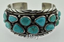 Vintage Sterling Silver Navajo Scott Skeets Signed Turquoise Cuff Bracelet