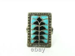 Vintage Sterling Silver Signed Zuni Natural Turquoise & Black Onyx Ring 5g B49