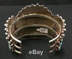 Vintage Sterling Silver Turquoise Cluster Bracelet Dead Pawn