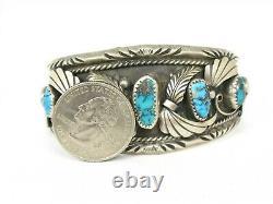 Vintage Sterling Silver Turquoise Justin Morris Navajo Cuff Bracelet 58g B13