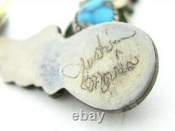 Vintage Sterling Silver Turquoise Justin Morris Navajo Dangle Earrings 9g B13