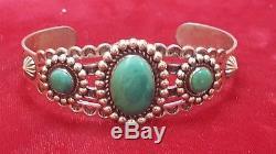 Vintage Sterling Silver Turquoise Native American Cuff Bracelet Southwestern
