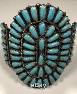 Vintage Sterling Silver Zuni Cluster Bracelet. Turquoise Block