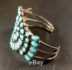 Vintage Sterling Silver Zuni Turquoise Cluster Bracelet