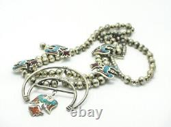 Vintage Sterling Thunderbird Turquoise & Coral Squash Blossom Necklace 88.5g M73