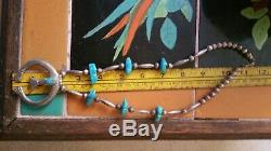 Vintage Sterling Turquoise Nugget sand cast NAJA Squash Blossom Navajo Necklace