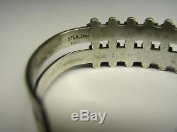 Vintage Sterling & Turquoise Petit Point Cuff Bracelet, Zuni