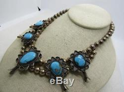 Vintage Sterling Turquoise Squash Blossom Necklace, 16, 70.95gr, Native America