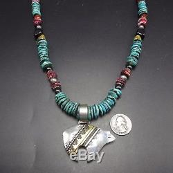 Vintage TOMMY SINGER Sterling Silver BEAR PENDANT & TURQUOISE Bead NECKLACE