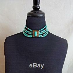 Vintage TONY AGUILAR SR Brass and TURQUOISE Collar NECKLACE Santo Domingo KEWA