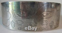 Vintage Tlingit Indian Engraved Silver Animal Face Cuff Bracelet