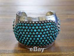 Vintage Turquoise Snake Eye Sterling Silver Cuff Bracelet HEAVY
