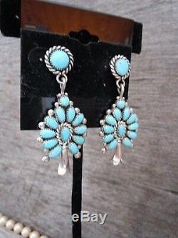 Vintage Turquoise + Sterling Silver Squash Blossom Earrings ZUNI Post Backs 2